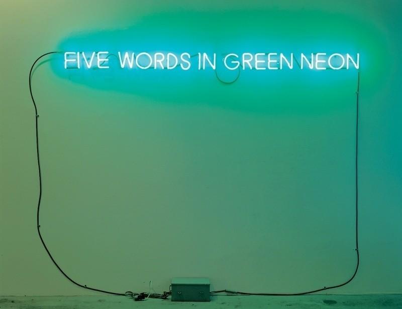 Five Words in Green Neon